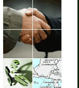 An image of two businessmen shaking hands, currency symbols and a European man.